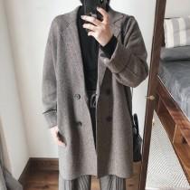 小編編字留款  韓版雙人字編織不起毛球中長版針織大衣   small ki